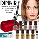 Dinair Airbrush Pro Makeup Kit | Medium Shades | 10pc Make-up Set | Multi-Purpose for Foundation, Blush, Shimmer, Concealer, Eyeliner | Plus Shadow/Brow Stencils