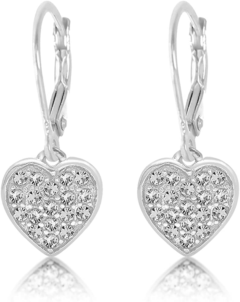 Premium 8MM Crystal Heart Leverback Kids Baby Girl Earrings With Swarovski Elements By Chanteur – 925 Sterling White Gold Tone – Perfect Gift For Children