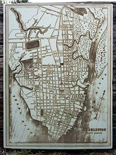 Downtown Charleston - 1898 wood engraved map by Fire & Pine