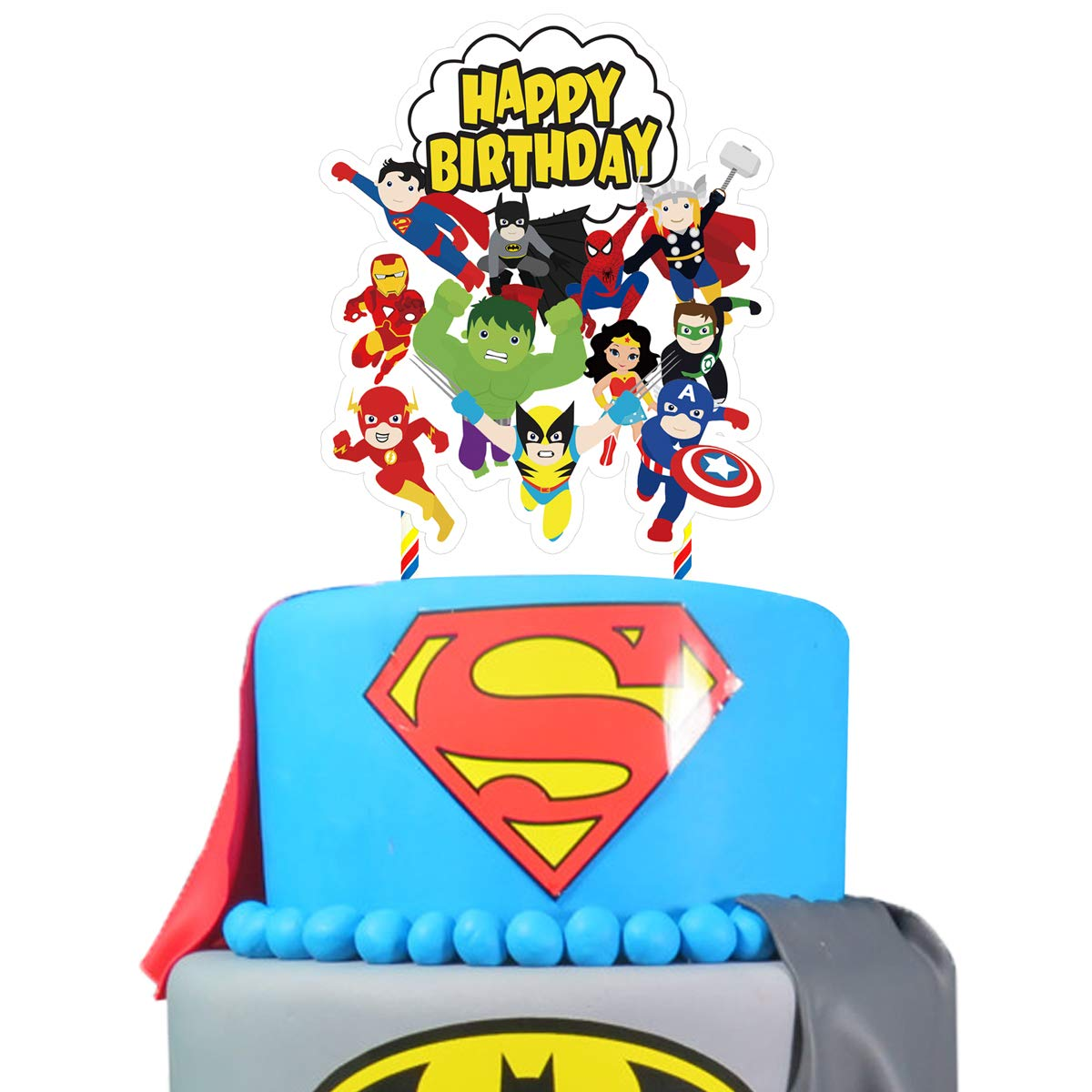 1 Superhero Cake Topper Birthday Cupcake Toppers Decorations Party Supplies For Fans Of Super Hero Amazon Com Grocery Gourmet Food
