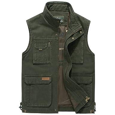 eca321d3a421aa Männer Casual Multi Pocket Angeln Beste Outdoor Fotografie Weste Mantel ,ArmyGreen-Bust106CM