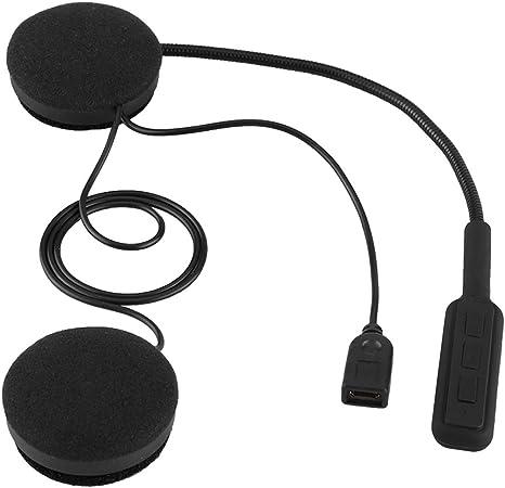 Qiilu Casque de Moto Casque Bluetooth Mains Libres Casque Appel /écouteur Microphone