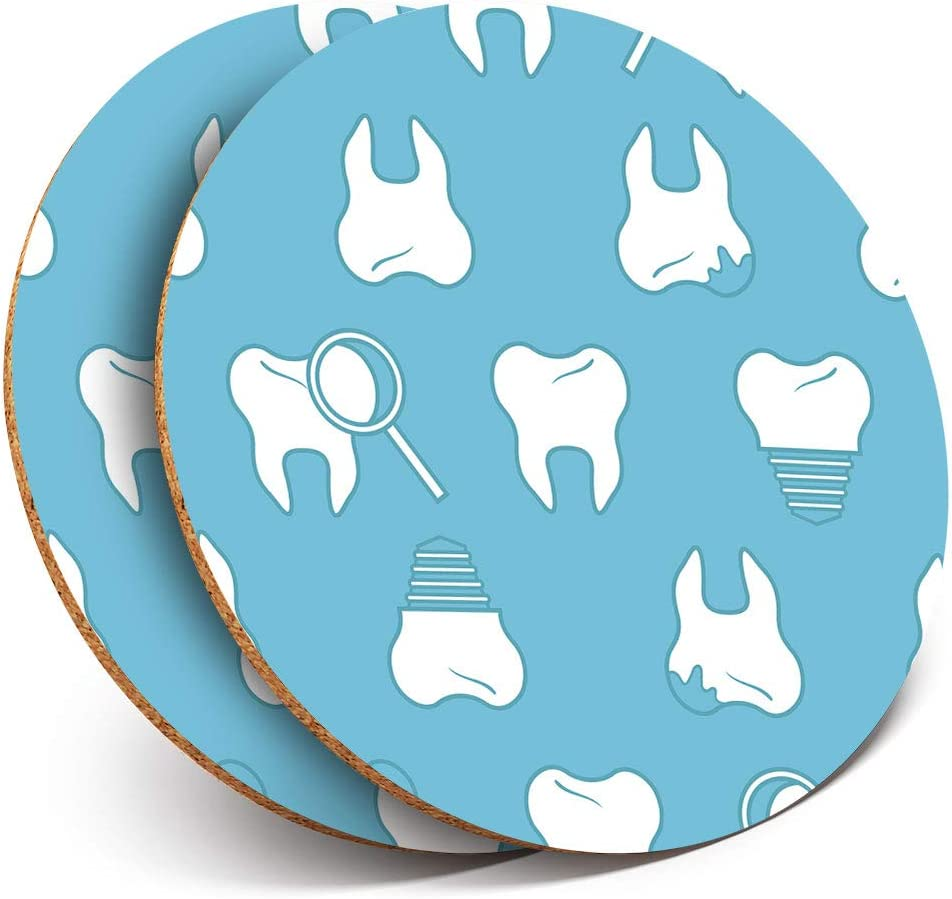 Great Coasters (Set of 2) Round with - Dental Hygiene Teeth Dentist Cool Mens Drink Glossy Coasters/Tabletop Protection for Any Table Type #8501