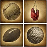 Live Art Decor - Sports Canvas Wall Art Boxing Gloves Golf Ball Baseball Football Sports Themed Vintage Antique Pictures for Boys Room Baby Nursery Wall Decor Boys Gift (12x12x4pcs)