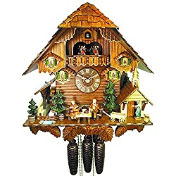 German Cuckoo Clock 8-day-movement Chalet-Style 17.00 inch - Authentic black forest cuckoo clock by August Schwer