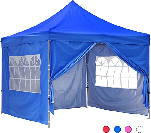 GDY 10×10 Ft Outdoor Pop Up Canopy Tent Commercial Portable Instant Folding Shelter Gazebos Blue Waterproof Canopie