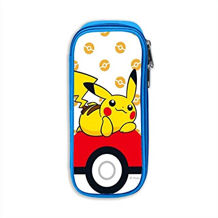 Pokemon lindo - Estuche para lápices de Pikachu, Bolso de lona, Bolso portátil para estudiantes de oficina con cremalleras para niños, niñas y adultos