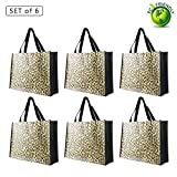 Reusable Grocery Bags-Supermarket Shopping Bags Large/Medium Non-Woven Fold Flat Wipe Clean (6, Leopard Print)