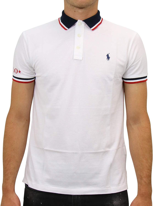 Ralph Lauren Custom Slim Fit Polo T Shirt White 710753174-002 (M ...