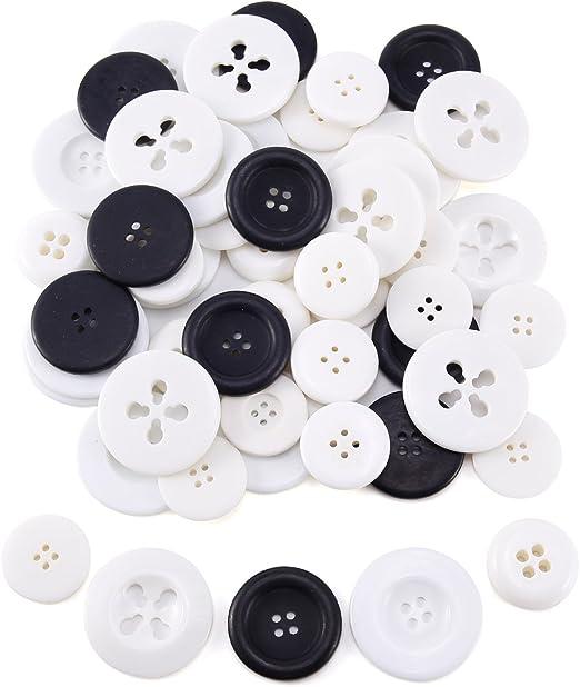 50 x blanco y negro mezcla Botones Botón/plástico Botones Camisa Botones Blusa botón Buttons costura Ropa Decoración Artesanía Manualidades DIY Scrapbooking Ver. Grandes: Amazon.es: Hogar