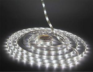 LEDMY Flexible Led Strip Lights, strip lights, DC 24V 12W SMD3528 150LEDs IP68 Waterproof Under Cabinet Lights Cool White 6000K 5Meter/ 16.4Feet, led tape lights Using for Homes, Kitchen Decortation