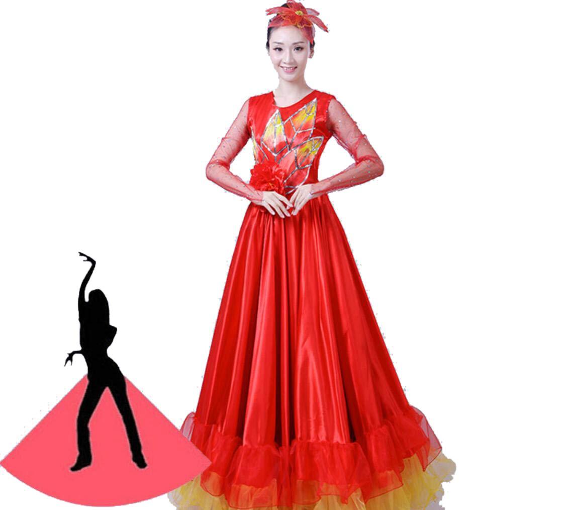 ZYLL Falda Larga Maxi de Estilo Tribal Faldas de Flamenco Falda de ...