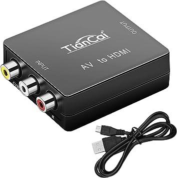 Tiancai RCA a HDMI, 1080P Compuesto CVBS AV a HDMI Adaptador de Audio y Vídeo para PC Portátil PS3 TV STB VHS VCR Cámara Reproductores de DVD Proyector: Amazon.es: Electrónica