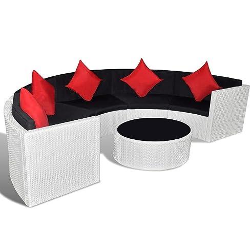 Rattan lounge halbrund  vidaXL Poly Rattan Gartenmöbel Gartenset Lounge Garnitur ...
