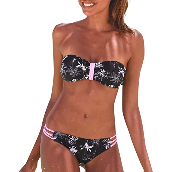1043d5e4f574 Bikini Mujer 2019 Brasileño Fossen, Bikinis Push up con Relleno Mujer sin  Tirantes Traje de baño con Estampado Floral Bañadores Dos Piezas para ...