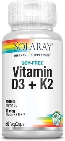 comprar Solaray Vitamina D3 + K2   Favorece la absorción de calcio y apoya al sistema cardiovascular y arterial   Sin Soja, gluten   Apto para Vegetarianos   60 VegCap