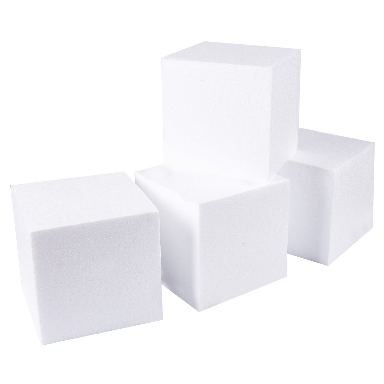 Craft Foam Cube - 4-Pack Square Polystyrene Foam Block Foam Brick for Sculpture, Modeling, DIY Arts and Crafts - White, 6 x 6 x 6 inches