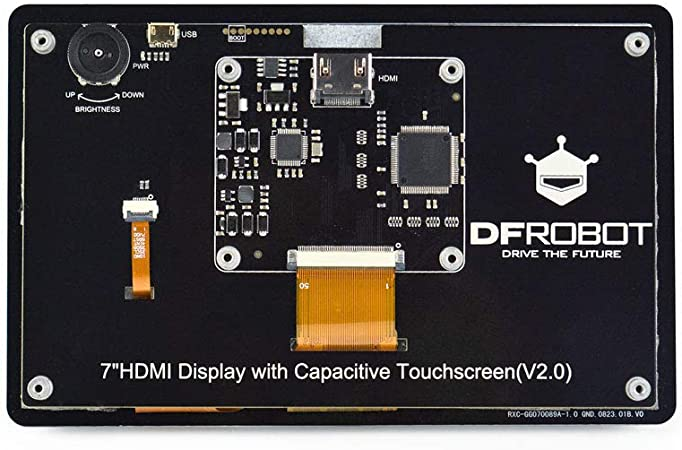 DFRobot 7 inch HDMI Display with Capacitive Touchscreen for Lattepanda Raspberry Pi and Other HDMI Device 1024x600 Supports Windows Linux and MAC OS