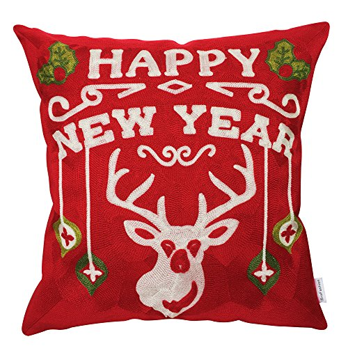 IBraFashion Christmas and New Year Theme Embroidery Pillow Cover 100% Cotton Canvas Home Decorative Square Throw Pillow Cover Red 18x18 inches Full Embroidery Happy New Year