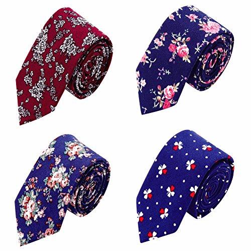 AUSKY Floral Cotton Mens Slim Skinny Necktie,Flower Printed Spring Ties for - Flower Skinny