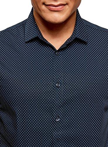 oodji Ultra Uomo Camicia Aderente in Cotone Blu (7910G)