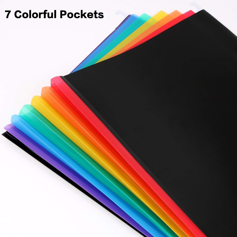 5 pezzi Cartelle Sospese 35 Tasche,A4 Cartella portadocumenti da appendere Multicolore,Cartellette Raccoglitore Documenti Espandibile//Stoccaggio Organizzatore Cartelletta con 40 etichette