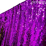 DUOBAO Sequin Backdrop 20FTx10FT Purple to Gold Wedding Pics Backdrop Mermaid Reversible Sequin Photo Backdrop Baby Shower Curtains