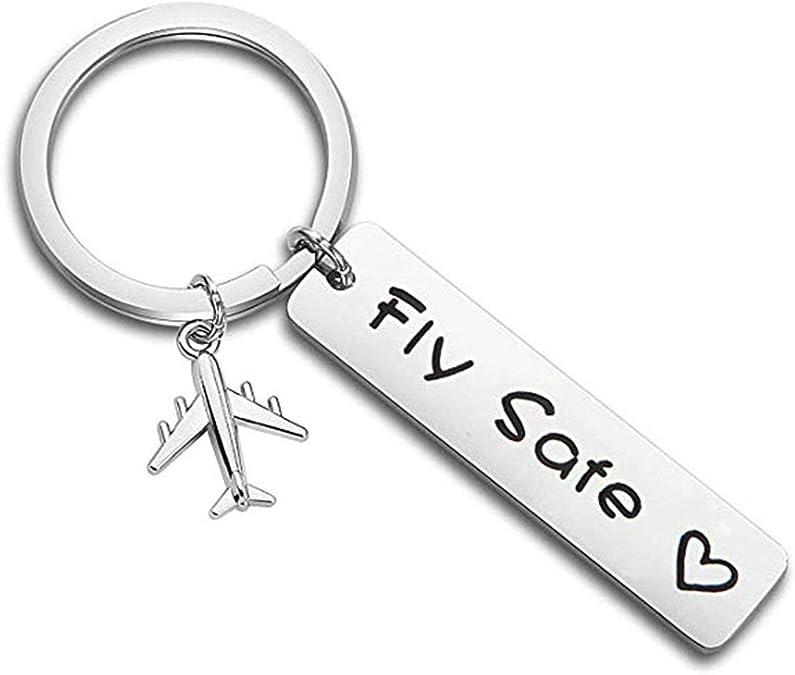 Beydodo Schlüsselanhänger Partner Mit Gravur Flugzeug Anhänger Gravur Fly Safe Schlüsselanhänger Auto Edelstahl Schmuck
