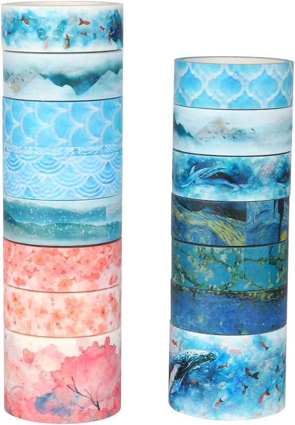 lenght:5m//roll Washi Masking Tape,Adhesive Paper,Cute Tape for DIY,Planners,Scrapbooking,Object Beautification,Home Furnishing Decor,Party,Gift Wrapping Molshine 15rolls
