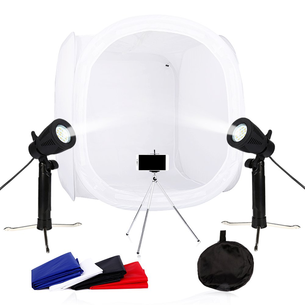 24x24 inch Photography Photo Studio Box Lightbox Light Tent Cube Box Shooting Tents with 4 Colors Backdrops,2 x 50w Studio Light and a mini tripod