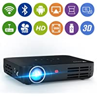 """WOWOTO H8 3000 lumens Mini Projector LED DLP 1280x800 Real Mini Home Theater Projector WXGA Support 3D 1080P HD Perfect For Entertainment Business Wireless Screen Share Android HDMI USBx2 RJ45 176""""±"""