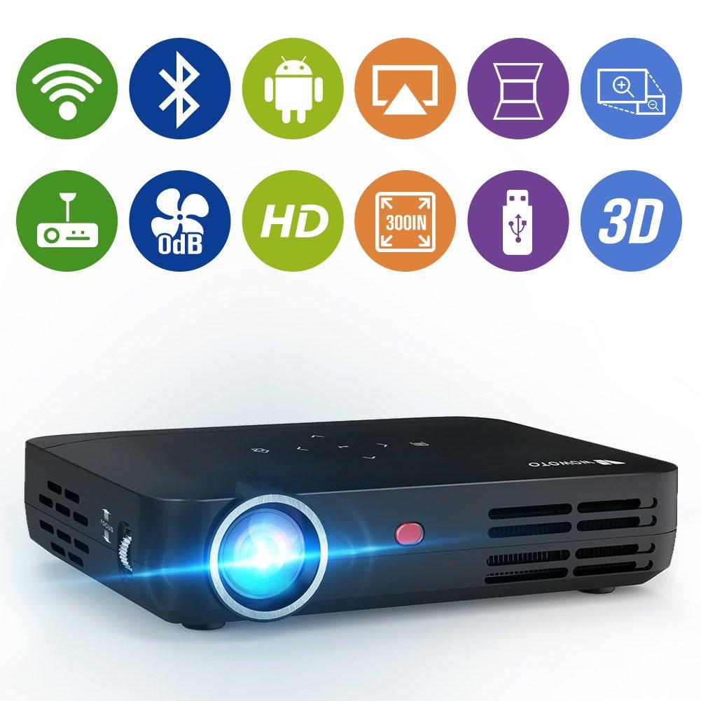 WOWOTO H8 Video Projector DLP LED 1280x800 WXGA WiFi Bluetooth HD ...