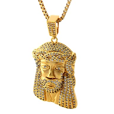 Amazon king ice 14 14k king ice 14 14k yellow gold cz jesus piece mozeypictures Image collections