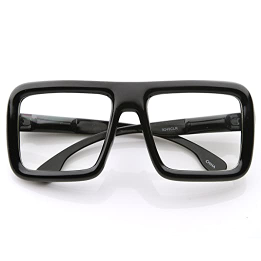 61233c423d39 Amazon.com  Large Retro-Nerd Bold Thick Square Frame Clear Lens Glasses ( Black)  Clothing