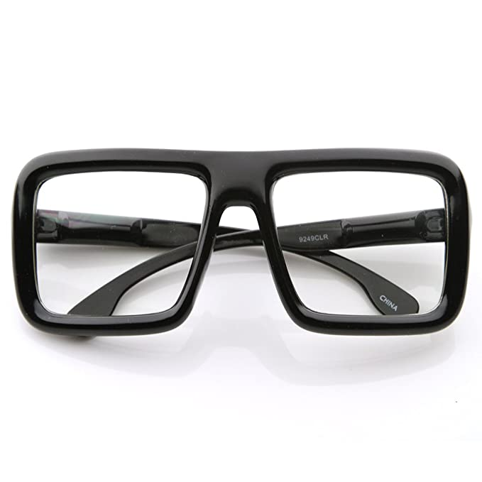 cce8f11a529 zeroUV - Large Retro-Nerd Bold Thick Square Frame Clear Lens Glasses  (Black)  Amazon.co.uk  Clothing