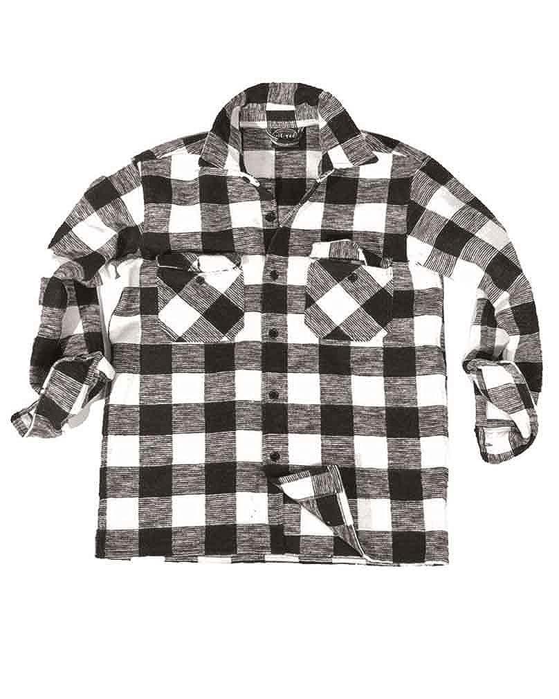 Mil-Tec Outdoor - Camisa de leñador del ejército alemán, color negro/rojo