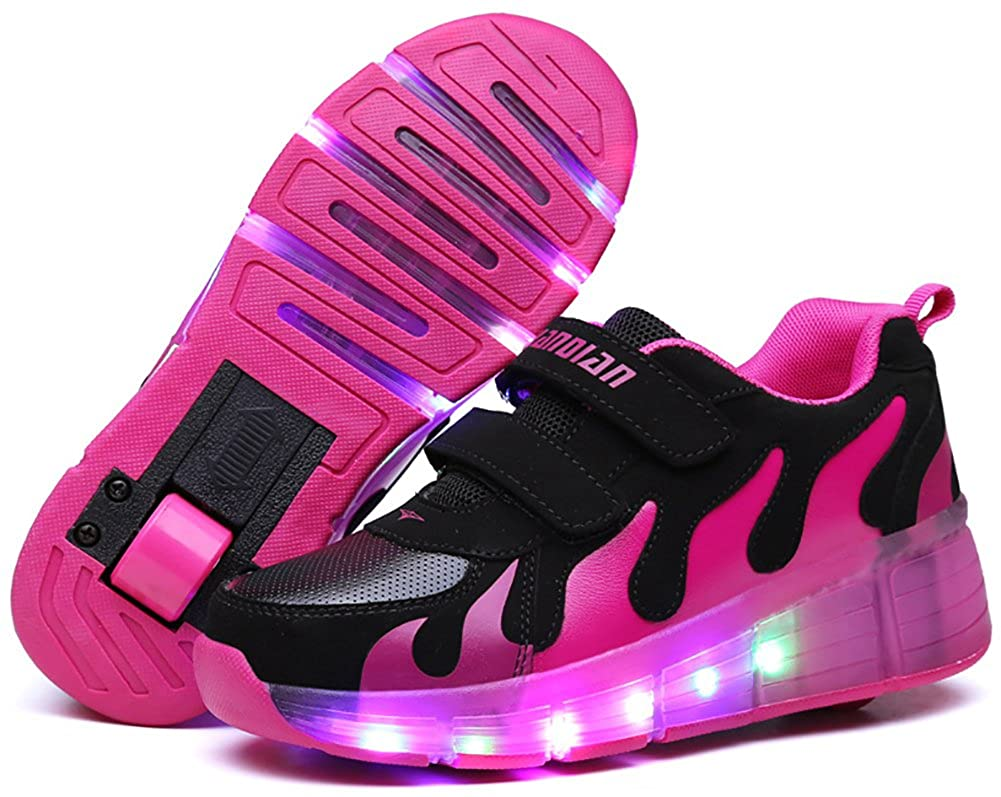 UBELLA Kids Boys Girls Single Wheel Roller Sneakers LED Light Up Flashing Skate Shoes