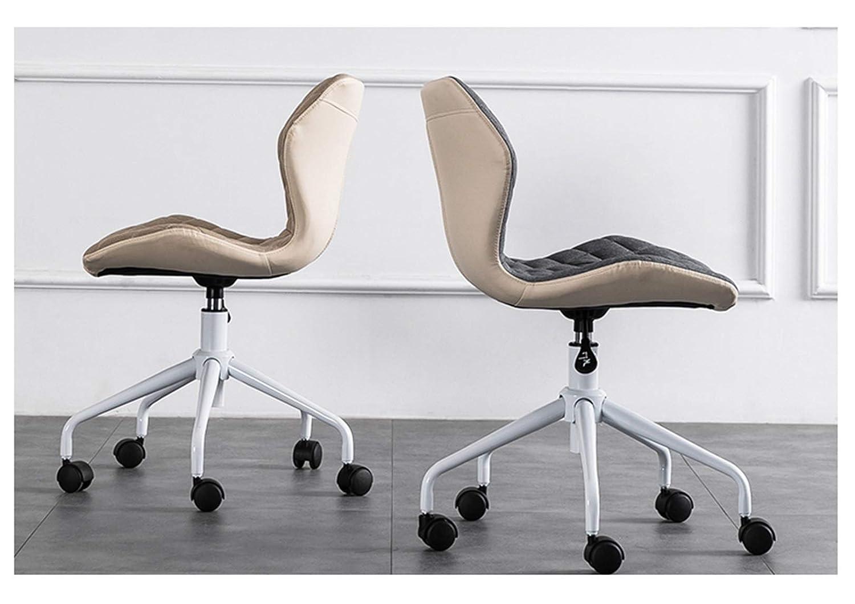 LYJBD rullande svängbar stol, ergonomisk datorstol med justerbar höjd, bekväm armlös skrivbordsstol mitt bak justerbar vridbar tv-spel stol BLÅ