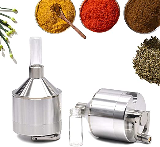 Metal 3 Piece 1.75 inch with Vial Premium Powder Spice Grinder Hand Mill Funnel with Handle