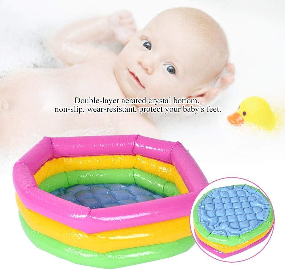 Piscina 3 aros bebé Piscina Redonda de Tres capas de Arco Iris Juguete Inflable Portátil Piscina Infantil Redonda(60CM)