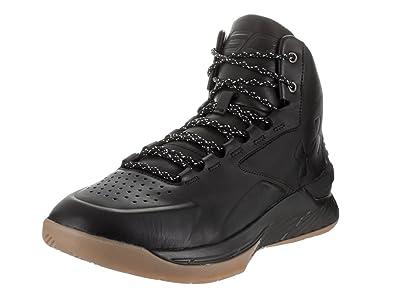 Under Armour Men's UA Curry 1 Lux Mid Lth Blk/Blk/Blk Basketball Shoe
