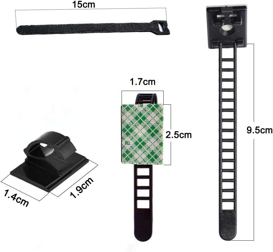 Attache Cables R/églables Clips Clips de C/âble Adh/ésif Clips pour Messy Cables dans la Maison Bureau et Voiture 20Pcs Attache de c/âble velcro YIXISI 40Pcs C/âble Clips