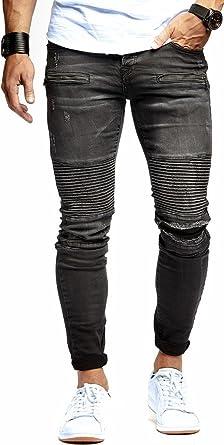 LEIF NELSON Herren Jeanshose Biker Jeans gesteppt Hose Stretch Schwarz Denim  Slim Fit LN9915SC  W29L32 008d6c0acd