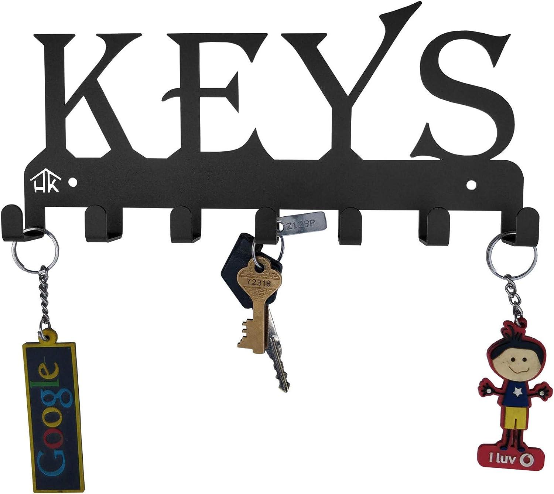 HeavenlyKraft Keys Black Metal Wall Mounted Key Holder