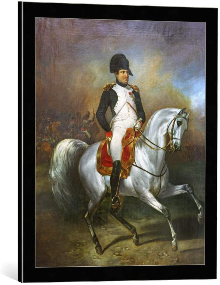 Kunst für Alle Cuadro con Marco: Simon Meister Napoleon on Horseback - Impresión artística Decorativa con Marco, 50x60 cm, Negro/Canto Gris