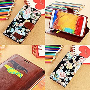 Pioneer Tech Flower Floral Style Wallet Flip Magnet Stand Leather Case Cover for Samsung Galaxy S5 -wtx (Black)
