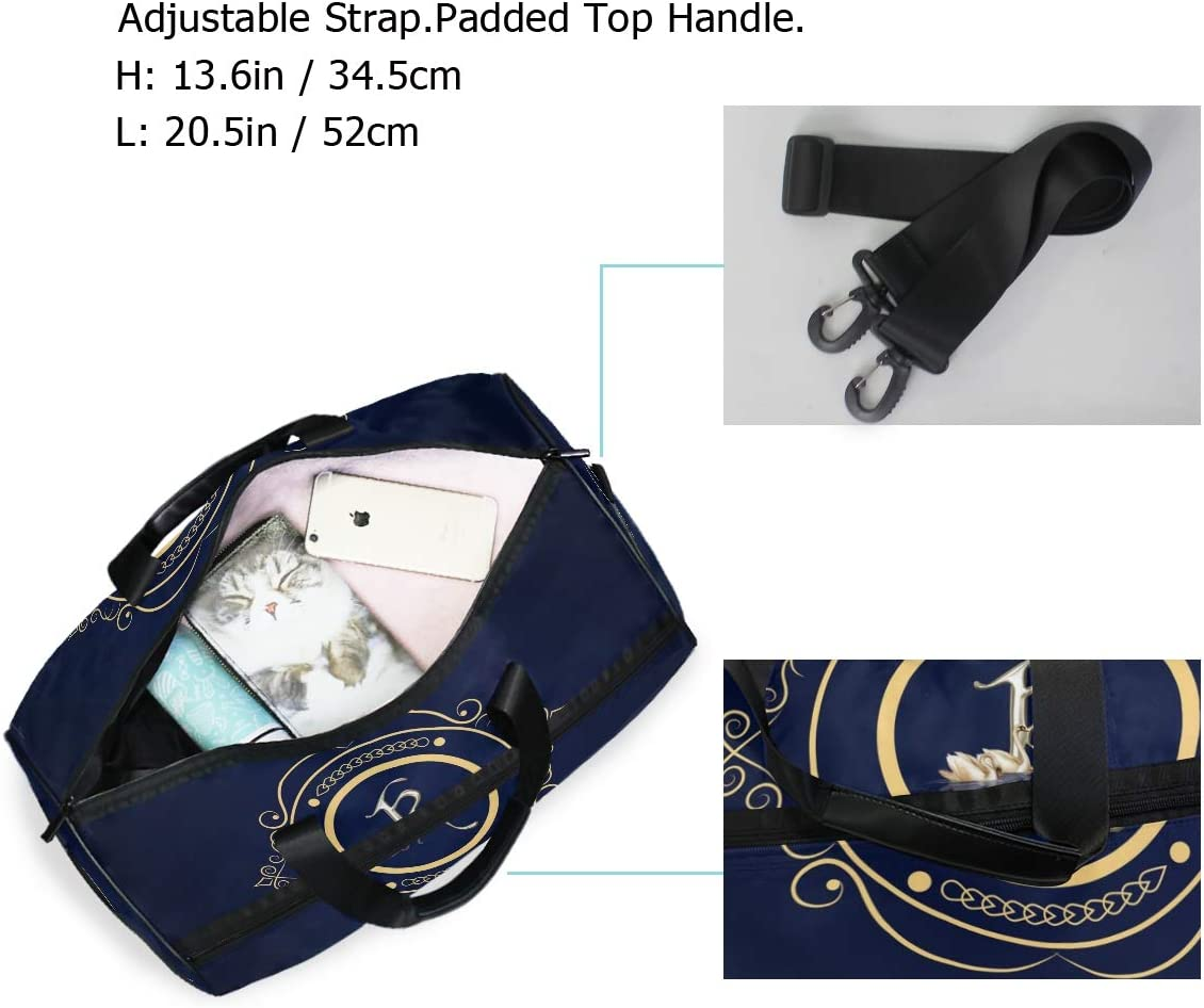 Weekender Bag with Shoes Compartment for Men Women MALPLENA Letter K Travel Duffel Bag