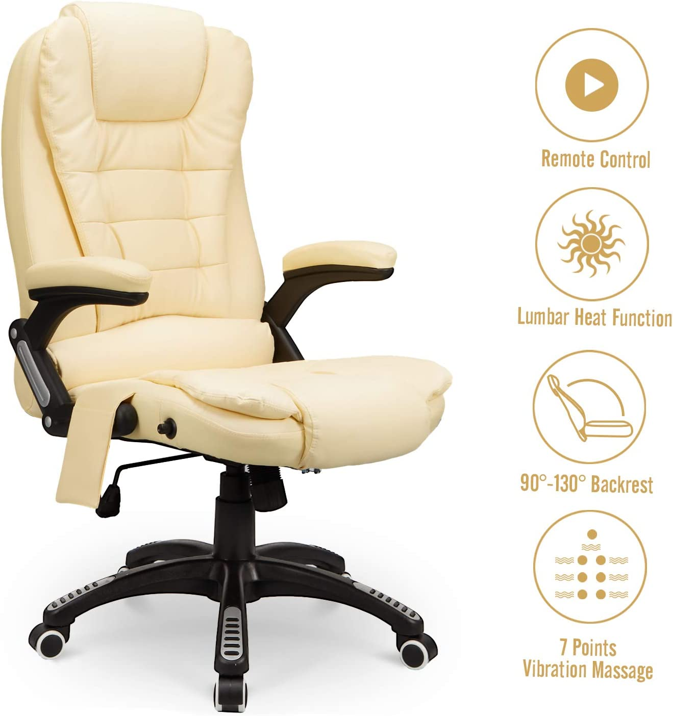 Esright Ergonomic Office Chair High Back PU Leather Computer Chair Height Adjustable Desk Chair Heated Massage Recliner Chair with Lumbar Support, Cream
