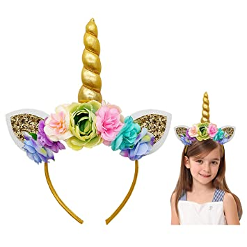 Amazon.com  Unicorn Headband with Gold Horn Ears Flowers for Girls Kids  Women Birthday Party (Gold)  Beauty a10e09bd27e