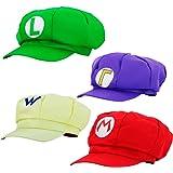 thematys® 4X Chapeau Super Mario Luigi Wario Waluigi - Costume pour Adultes et Enfants - Parfait pour Le Carnaval et Le Cosplay